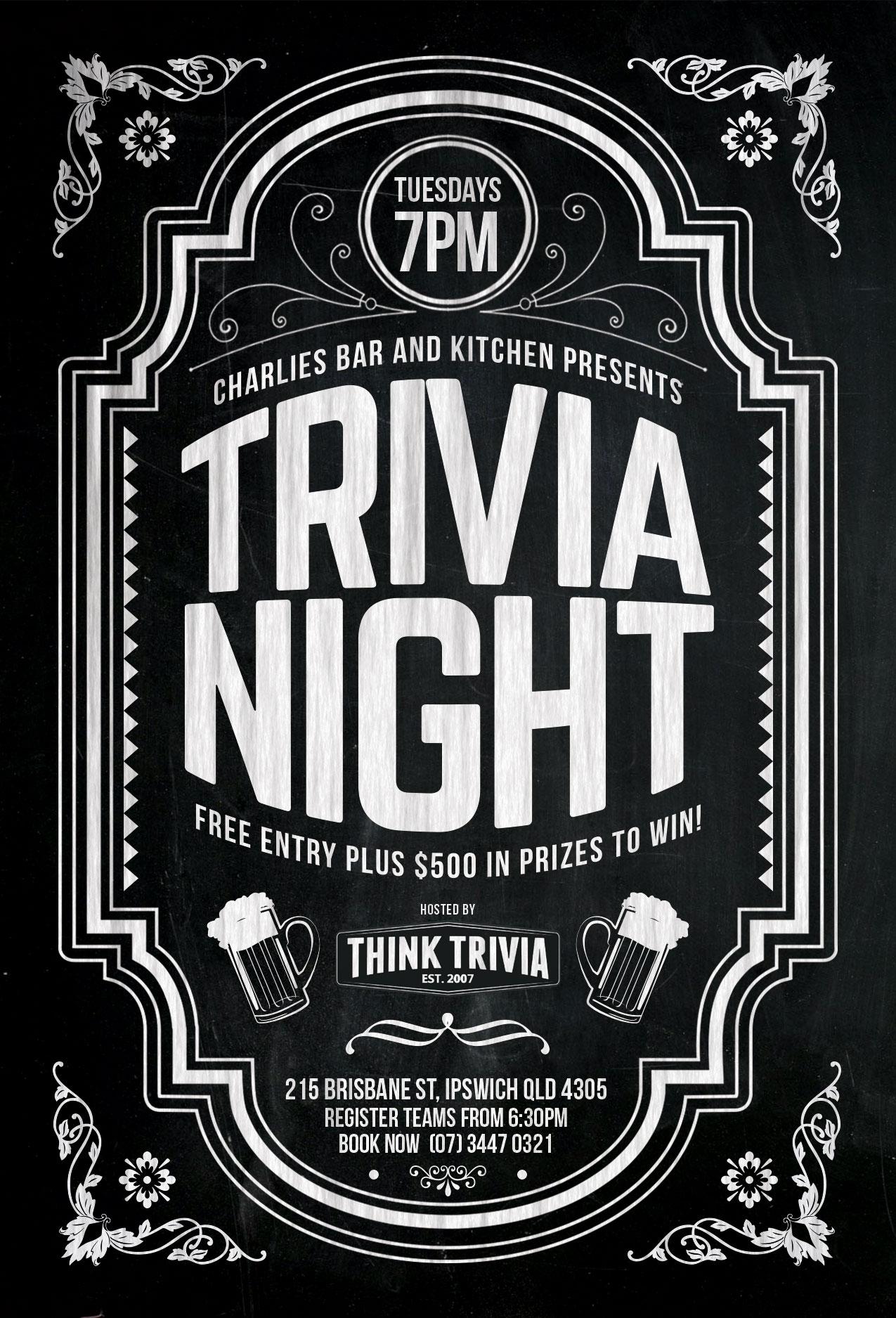 Ipswich Trivia - Tuesday - 7pm @ Charlies Bar & Kitchen