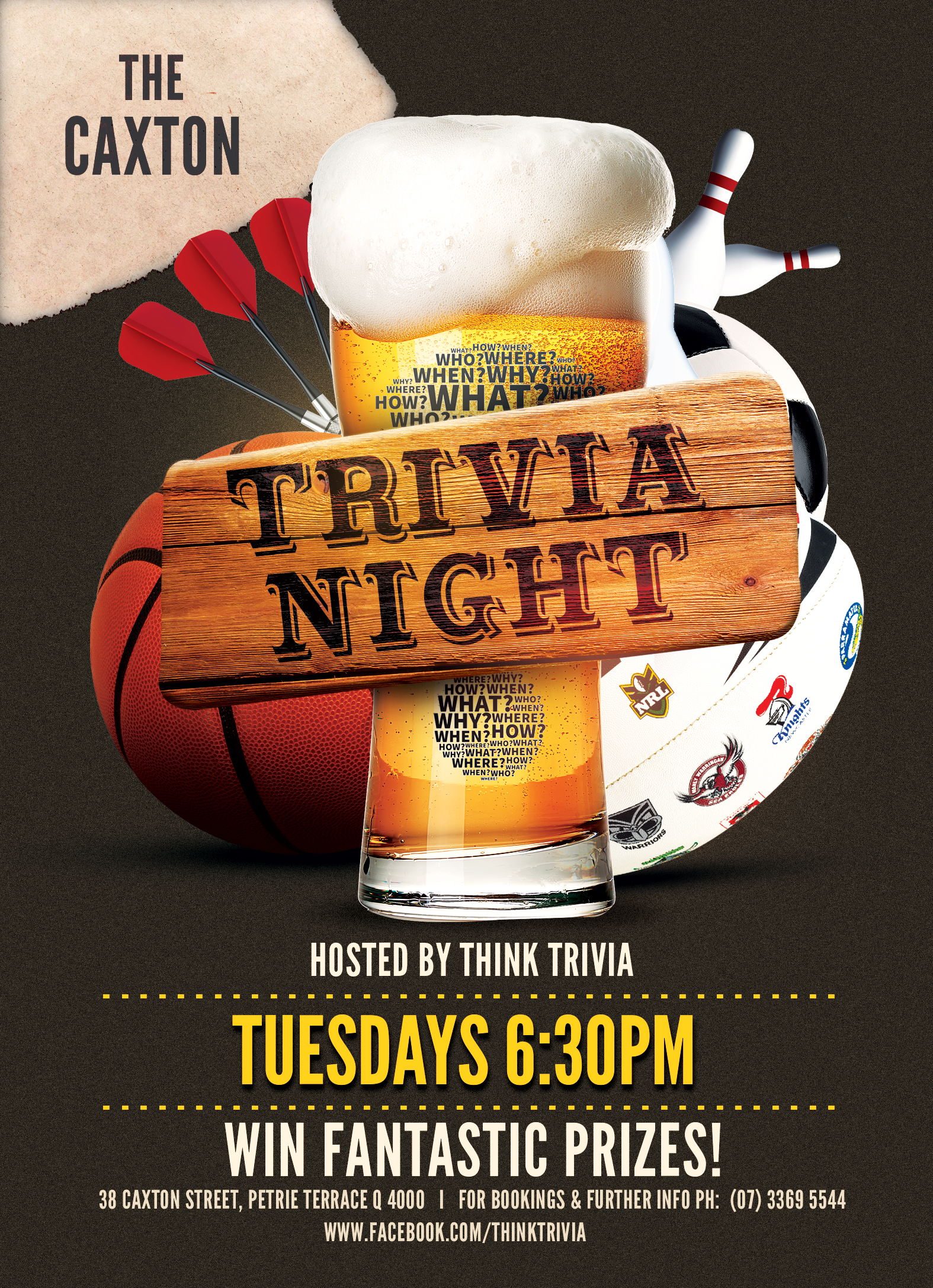 Caxton Hotel .. Trivia Tuesday .. 6:30pm @ Caxton Hotel | Brisbane City | Queensland | Australia
