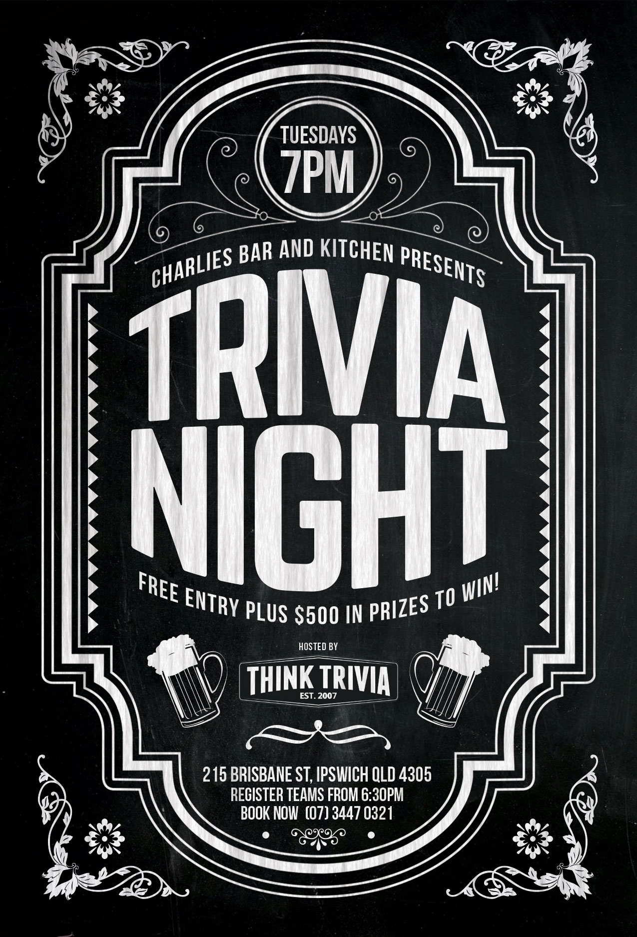 Ipswich Trivia - Tuesday - 7pm @ Charlies Bar & Kitchen